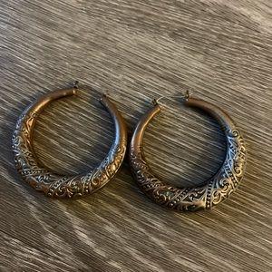 Copper embellished hoop earrings
